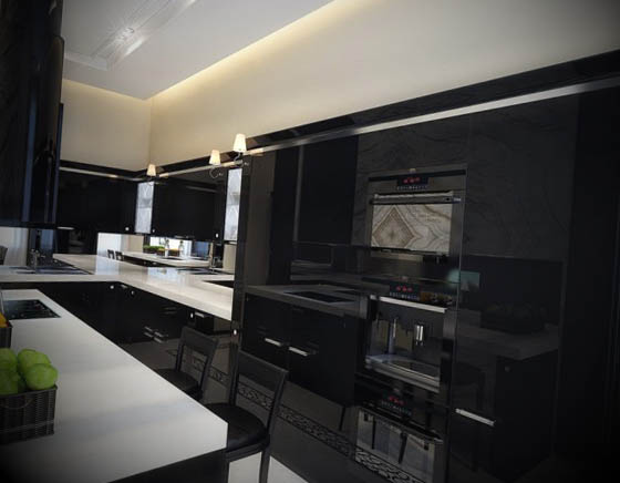 black-kitchen-with-white-countertop