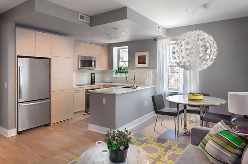cozinha americana com sala 1