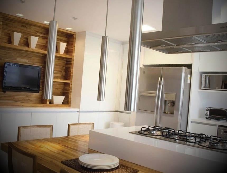 cozinha quadrada com ilha