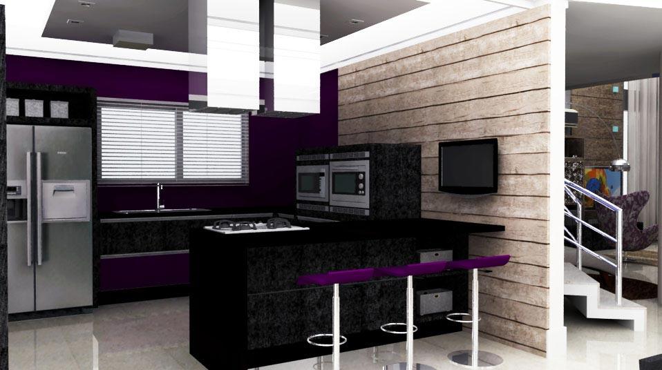 Cozinha com paredes escuras